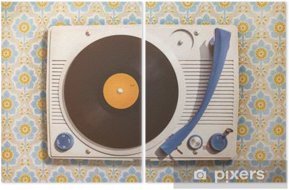 Vintage record player on top of flower wallpaper Diptych - Hobbies and Leisure