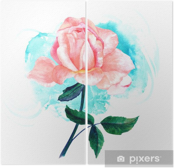 Watercolor pink rose drawing on turquoise brush stroke Diptych - Plants and Flowers