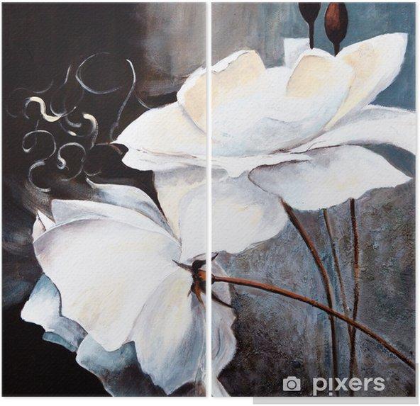 Weisse Blumen Diptych - Art and Creation
