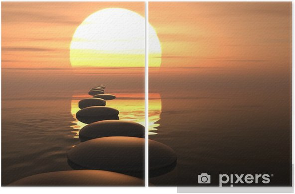 Zen path of stones in sunset Diptych - Styles