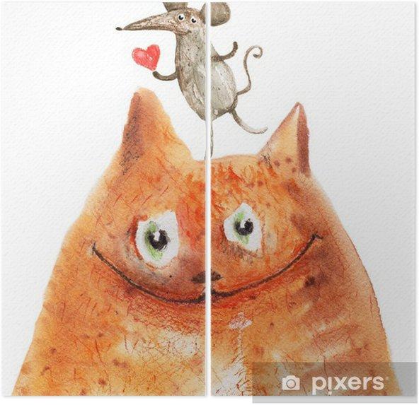 Diptychon Katze mit Mause - Emotionen und Gefühle
