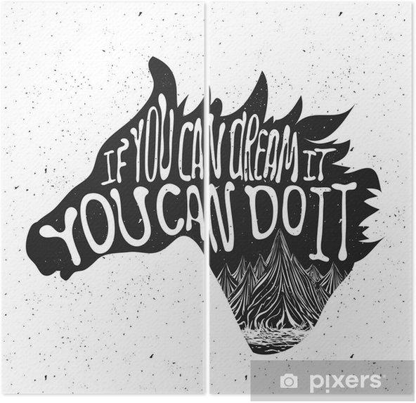 Diptychon Typografie Plakat mit Pferdekopf-Silhouette und die Berge - Tiere