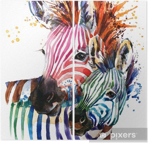 Diptychon Zebraillustration mit Spritzenaquarellbeschaffenheit. Regenbogenhintergrund für Modedruck, Plakat für Gewebe, Modedesign - Tiere