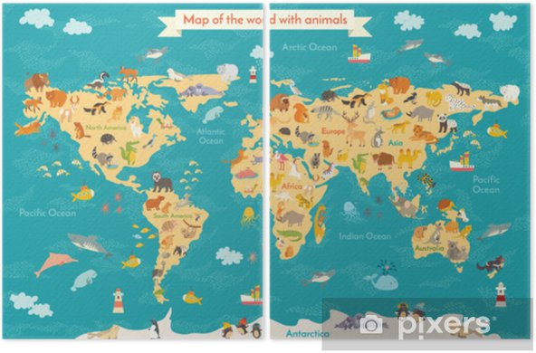Diptych Dyr Kart For Barn Verden Vektor Plakat For Barn Sot