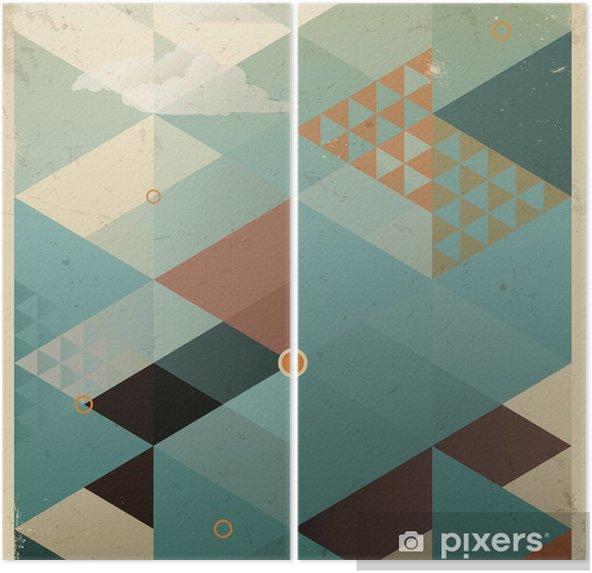 Diptych Abstraktní Retro Geometrické pozadí s mraky -