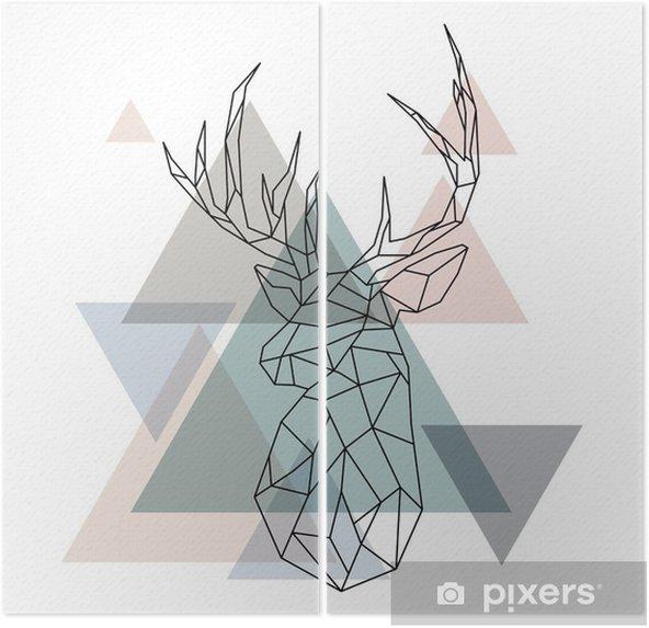 Diptych Geometrické ilustrace sobů - Zvířata