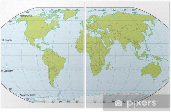 Diptych Mapa Sveta Se Souradnicemi Aktualni Verze Obsahovala