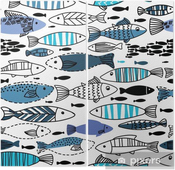 Diptych Podvodní bezešvé vzor s rybami. Bezešvé vzor můžete využít k tapet, webové stránky pozadí - Zvířata
