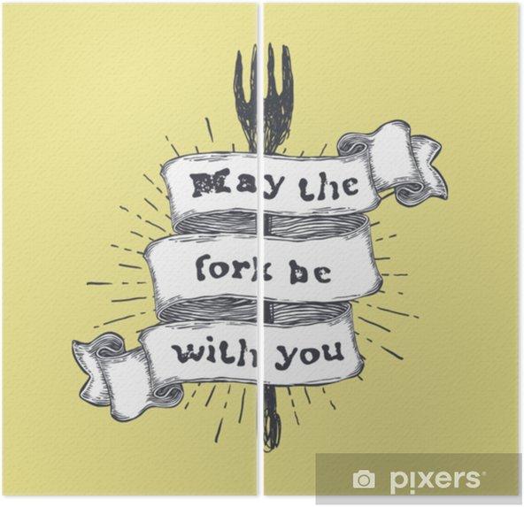 Diptych Vidlice může být s vámi. kuchyně a vaření potravin související, legrační citace na ručně tažené stužky na žlutém pozadí. vektorové vintage ilustrace. - Grafika