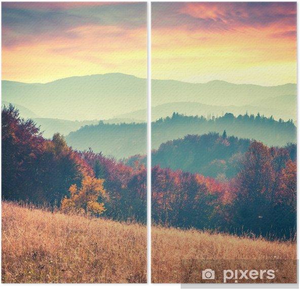 Farverig efterår solopgang i Karpaterne Diptykon - Landskaber