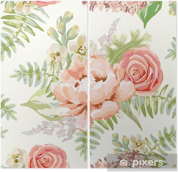 Diptyque Bouquets Rose Pale Sur Le Fond Blanc Modele Sans Couture