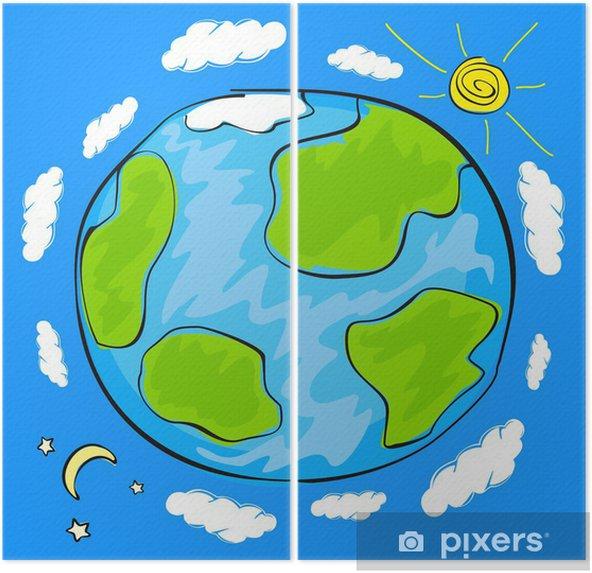 Diptyque Dessin D Enfant De La Planète Terre Pixers Nous Vivons