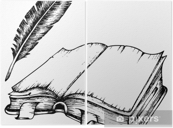 Diptyque Dessin De Livre Ouvert Avec La Plume