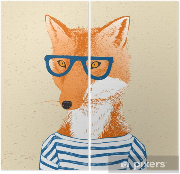 Diptyque Dessinés à la main habillé de renard dans le style hipster - Animaux