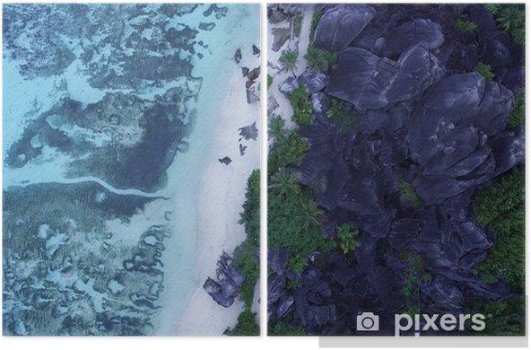 Diptyque Image de drone d'eaux tropicales bleues et de paysages exotiques - Ressources graphiques