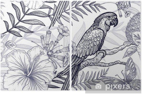 Diptyque Modèle Sans Couture De Fleurs Et Oiseaux Dessin à Main Levée Noir Et Blanc Branches De Palmier Ananas Hibiscus Papillons Perroquets