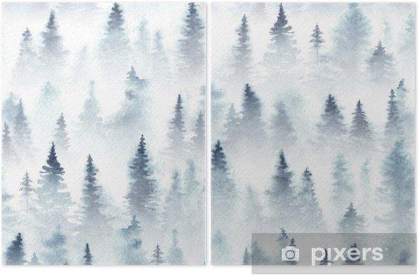 Diptyque Modèle sans couture de forêt d'épinette aquarelle dans le brouillard. - Paysages