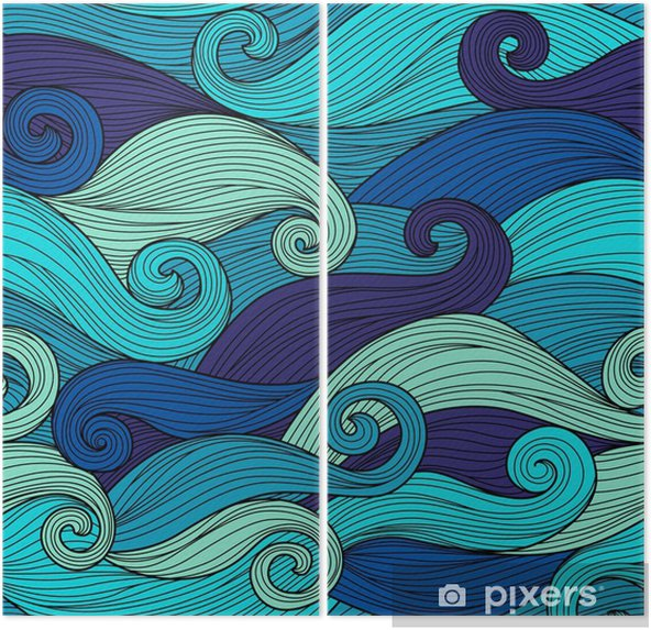 Diptyque Vector seamless pattern avec des vagues abstraites - Paysages