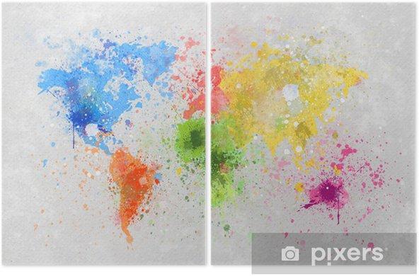 Dittico Mappa del mondo pittura -