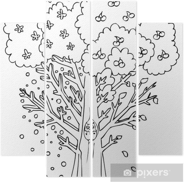 Boyama Dört Mevsim Ağaç Dört Parçalı Pixers Haydi Dünyanızı