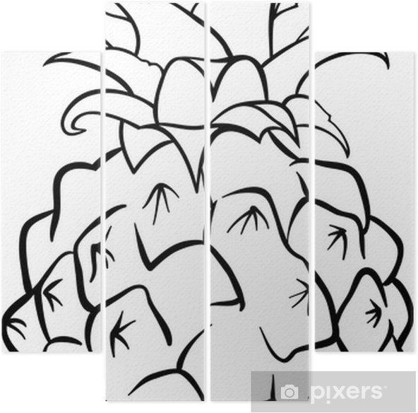 Boyama Kitabı Için Ananas Meyve Dört Parçalı Pixers Haydi