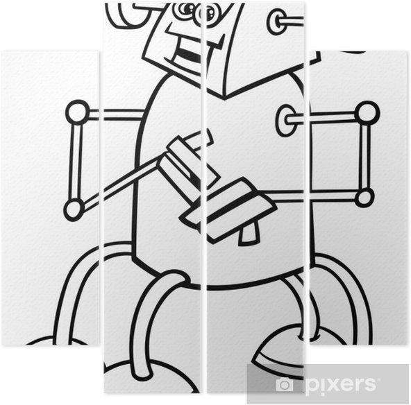 Boyama Kitabı Için Karikatür Robot Dört Parçalı Pixers Haydi