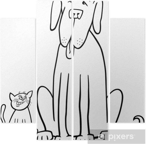 Boyama Kitabi Icin Kedi Ve Kopek Karikatur Dort Parcali Pixers