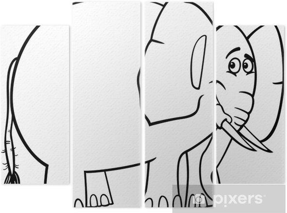 Boyama Kitabi Icin Sevimli Fil Karikatur Dort Parcali Pixers