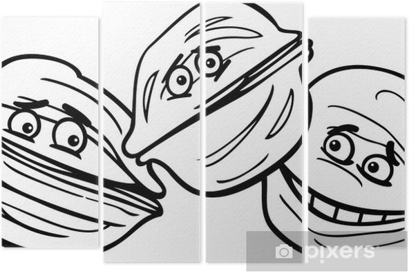 Dört Parçalı Ceviz Karikatür Boyama
