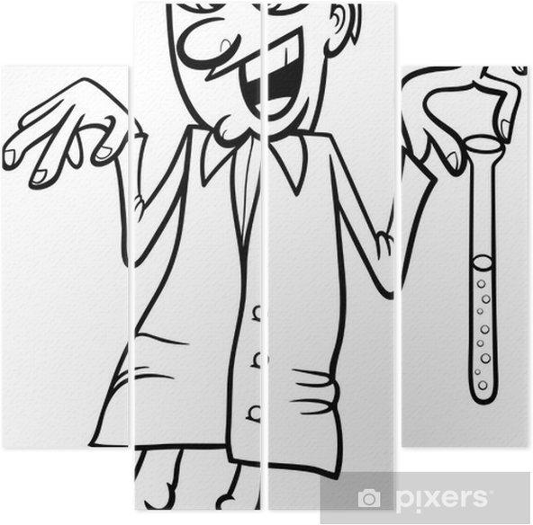 çılgın Bilim Adamı Karikatür Boyama Dört Parçalı Pixers Haydi