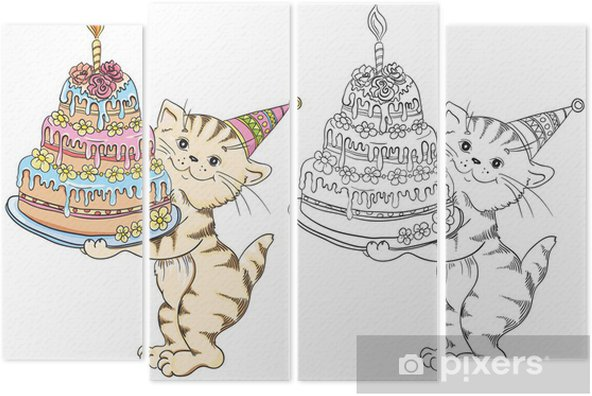 Doğum Günü Pastası Ile Karikatür Kedi Ile Boyama Kitabı Dört Parçalı