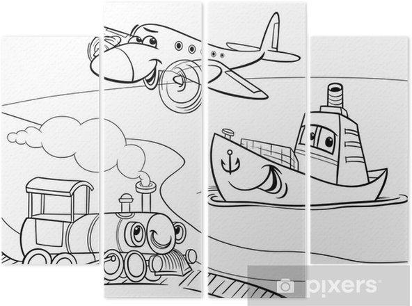Duzlem Gemi Tren Karikatur Boyama Dort Parcali Pixers Haydi