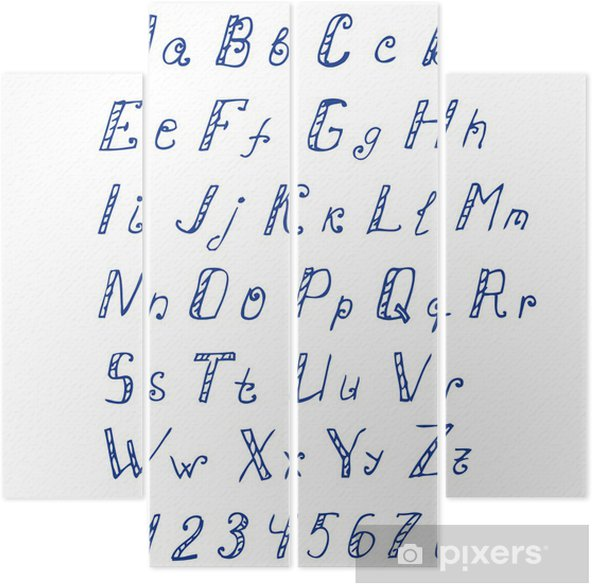El Yazısı Mürekkep Alfabe Dört Parçalı Pixers Haydi Dünyanızı