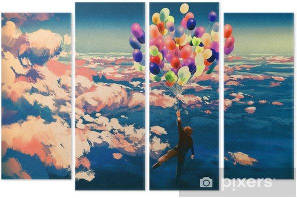 Guzel Bulutlu Gokyuzu Resimde Boyama Renkli Balonlarla Ucan Adam