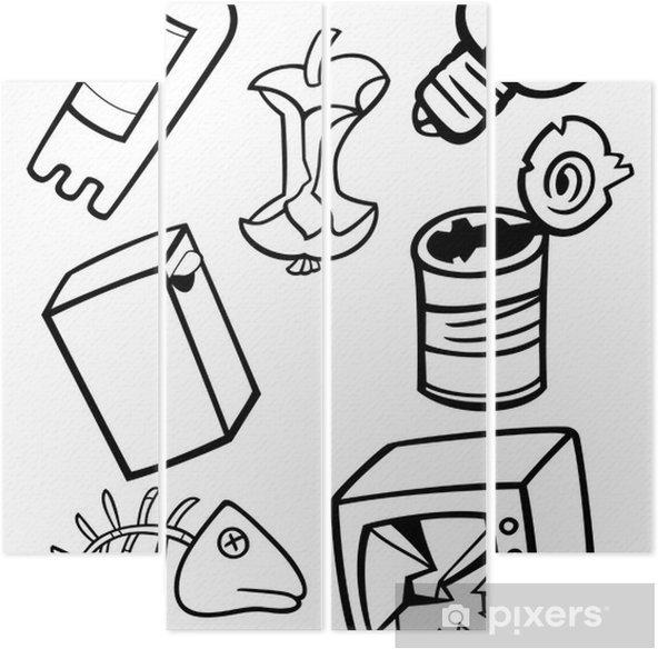 Dört Parçalı Karikatür çöp Boyama Nesneleri