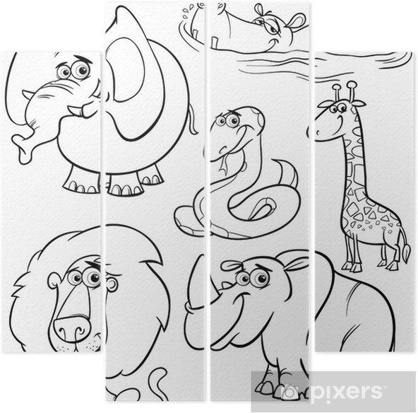 Karikatur Hayvanlar Boyama Kitabi Icin Belirlenen Dort Parcali
