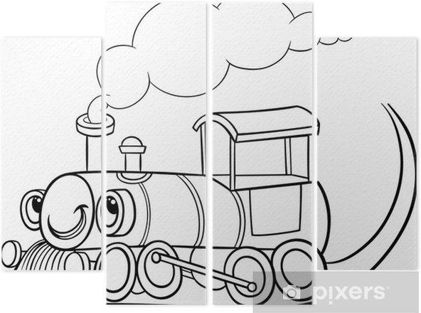 Karikatür Lokomotif Veya Motor Boyama Dört Parçalı Pixers Haydi