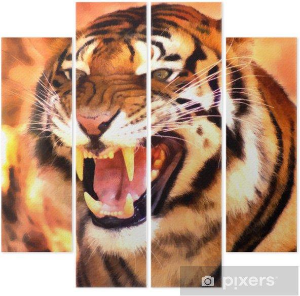 Kizgin Yuz Tiger Portre Boyama Dort Parcali Pixers Haydi