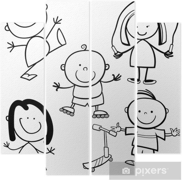 Mutlu Cocuklar Karikatur Boyama Kitabi Dort Parcali Pixers