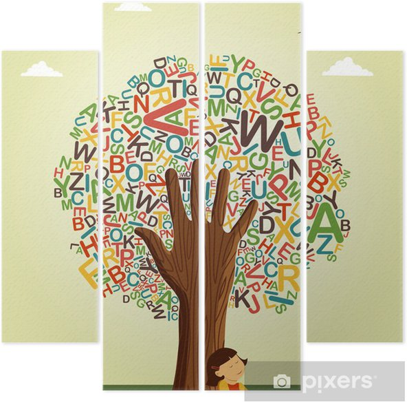 Okul öncesi Eğitim Ağaç Eldeki Okumayı öğrenin Dört Parçalı Pixers