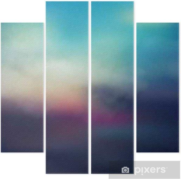 Dört Parçalı Renkli soyut günbatımı arka plan - Banyo