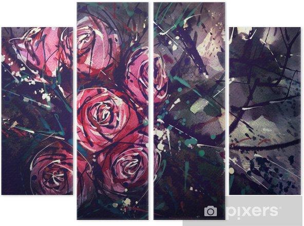 Dört Parçalı Suluboya resim tarzı gül Soyut Sanat. - Hobi ve eğlence
