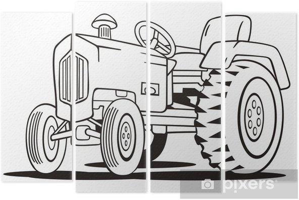 Traktör Boyama şablon Dört Parçalı Pixers Haydi Dünyanızı