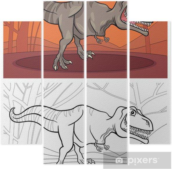 Tyrannosaurus Boyama Için Dinozor Rex Dört Parçalı Pixers Haydi