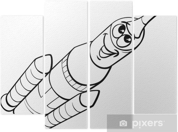 Dört Parçalı Uzay Roket Boyama