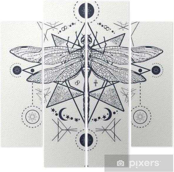 Yusufçuk Dövme Elle çizilmiş Mistik Semboller Ve Böcekler Dört