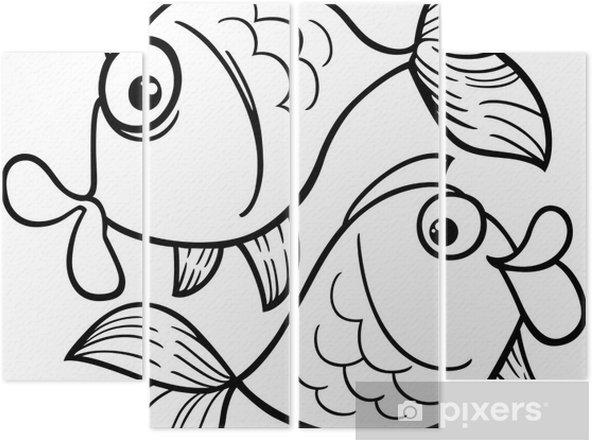 Zodyak Balık Burcu Ya Da Balık Boyama Dört Parçalı Pixers Haydi