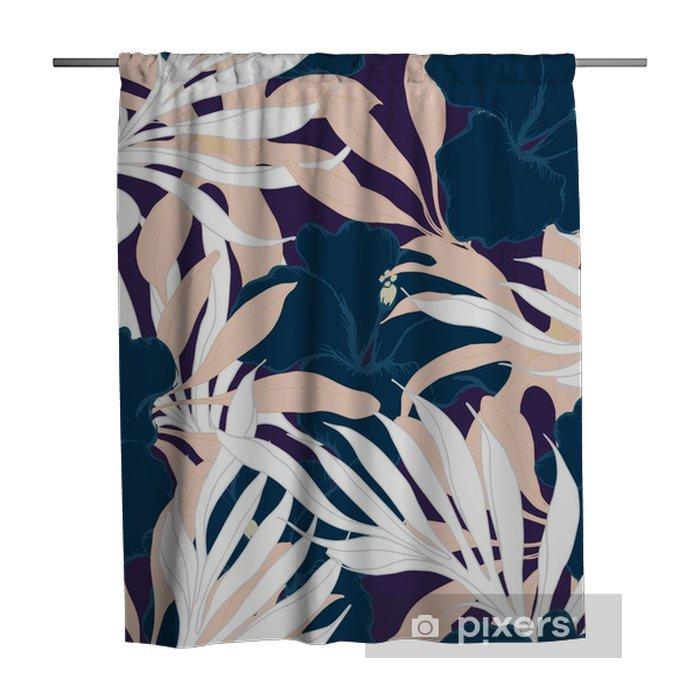 Douchegordijn Abstract elegantie naadloos patroon met bloemenachtergrond. - Bloemen en Planten