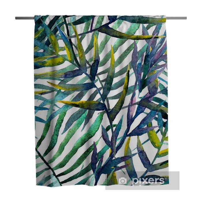 Douchegordijn Abstract patroon met bladeren in waterverf - iStaging