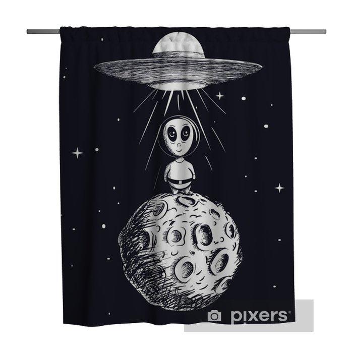 Douchegordijn Alien landde naar de maan van ufo - Wetenschap